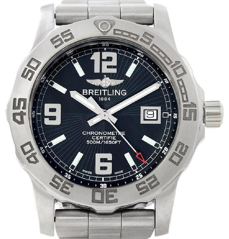 Breitling Silver/Black Colt Chronometer Stainless Steel Men's A74387