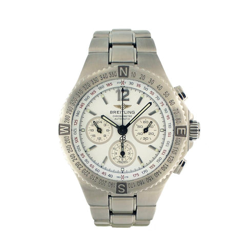 Breitling Silver Hercules A39362 Stainless Steel Chronograph 45mm