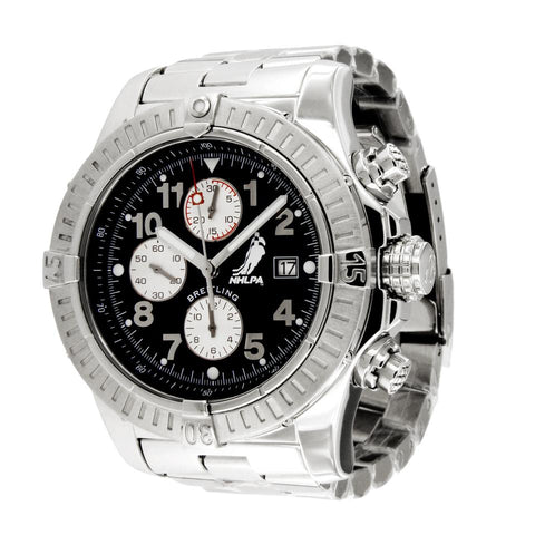 Breitling Silver/Black Limited Edition Nhlpa Super Avenger A13370