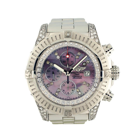 Breitling Light Purple Super Avenger A13370 Chronograph 48mm Diam 2.80ct.