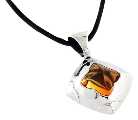 Bvlgari Estate 18k. White Gold Piramide Citrine Pendant