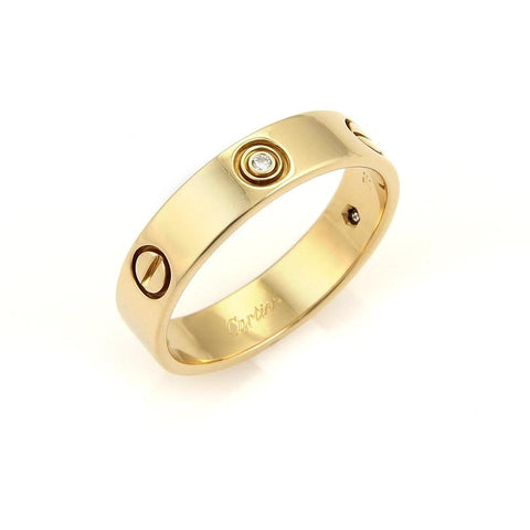 Cartier Love 3 Diamonds 18k Yellow Gold Band Ring
