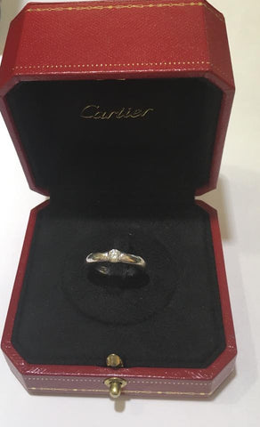 Cartier Ellipse 18k White Gold Diamond Ring