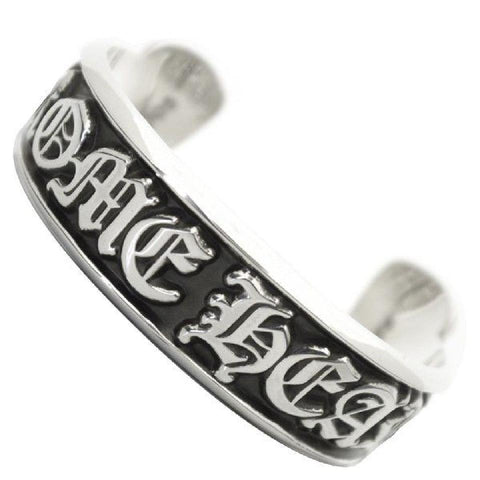 Chrome Hearts Silver Scroll Label Cuff Bangle