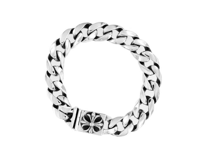 Chrome Hearts Silver Sterling Cross Button Chain Bracelet Crown