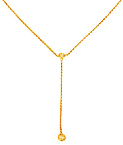 Dior Gold Christian Soumission Yellow with 2 Diamonds Necklace