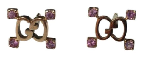 Gucci Gold Yellow 18 Stud with Pink Sapphires Earrings