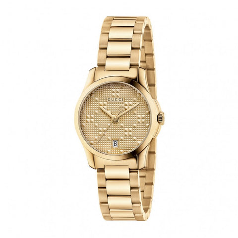 Gucci G-Timeless Ladies Gold Tone PVD Steel Watch YA126553