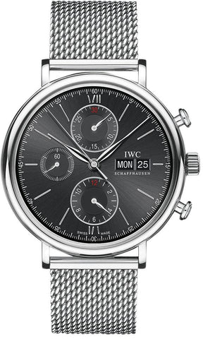 IWC Silver/Black Portfonio Chronograph Dial Steel Watch IW391010