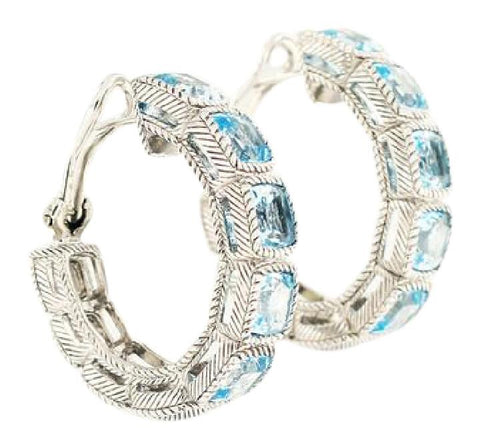 Judith Ripka Silver/Blue Sky Topaz Hoop Earrings