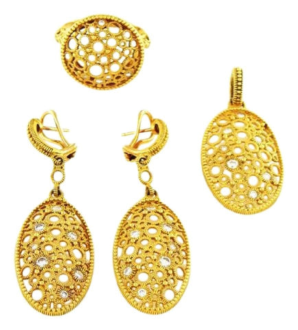 Judith Ripka Gold Oval Snowflake Diamond Pendant and Ring Set Earrings
