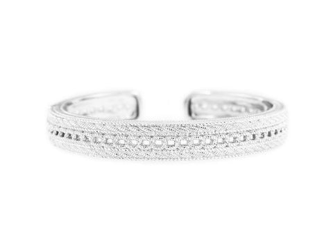 Judith Ripka Silver Sterling Textured Cuff Bangle
