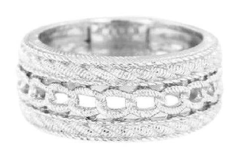 Judith Ripka Silver Sterling Textured Men's Ring