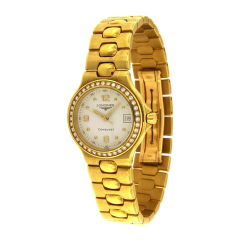 Longines Gold Ladies Conquest 18k Diamond Bezel Watch