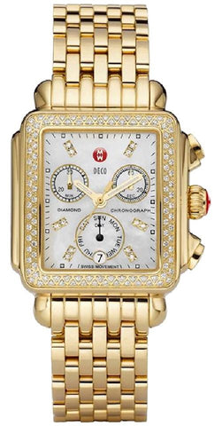 Michele Gold Deco Diamond Chronograph Women's WW06P000100 Watch