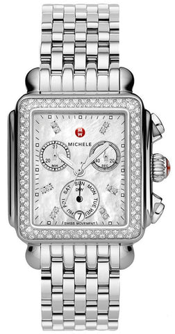 Michele Silver Deco Diamond Chronograph Women's MWW06P000099 Watch