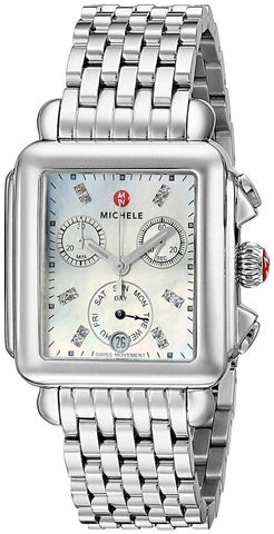 Michele Silver Deco Diamond Dial MWW06P000101 Watch