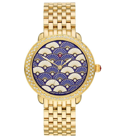 Michele Serein Gold/Blue Fan Dial MWW21B000102 Watch