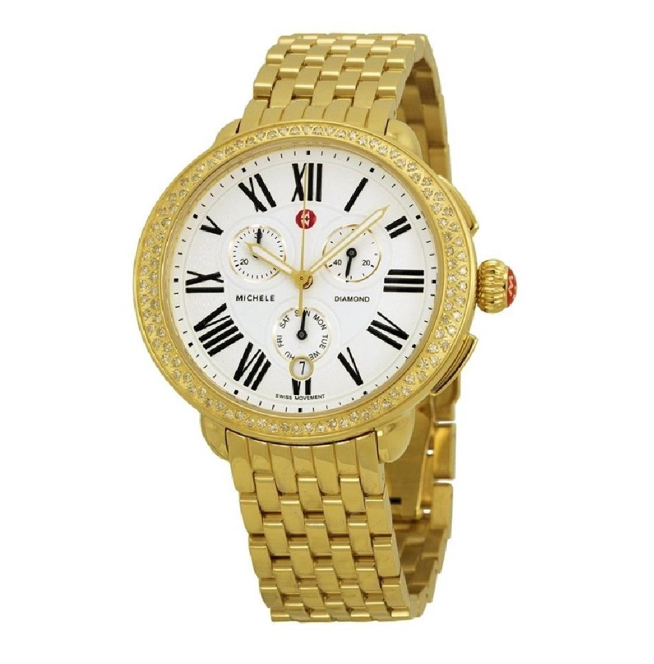 Michele Gold Serein Diamond Ladies Chronograph Mww21a000011 Watch Crown Jewelers