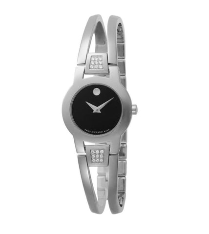 Movado Silver/Black Amorosa Ladies 0604982