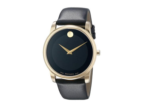 Movado Gold Museum Black Dial Leather Men's 0606876