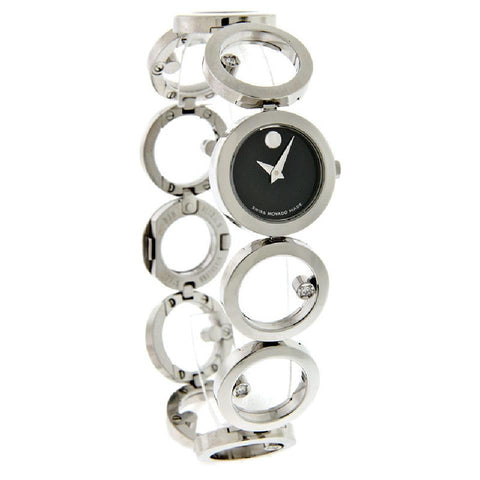 Movado Silver/Black Ono Diamond Dial Swiss Quartz Ladies 0605815