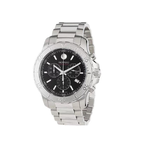 Movado Silver Series 800 Chronograph Black Dial Men's 2600110