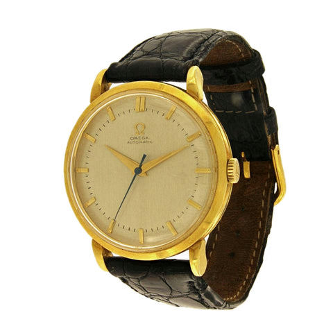 Omega 18k Yellow Gold Black Leather