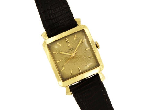 Omega Yellow Gold Rare Exclusive Vintage 14k Filled Square-Shaped Watch