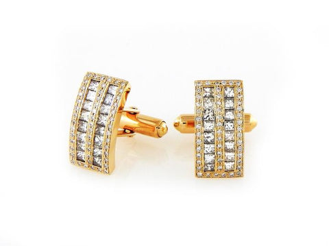 Custom Made 14k Yellow Gold Diamond Cufflinks