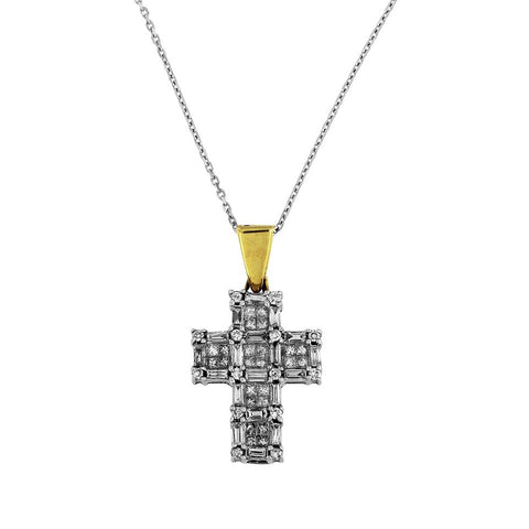 Two Tone 14k Gold Diamond Cross with Chain