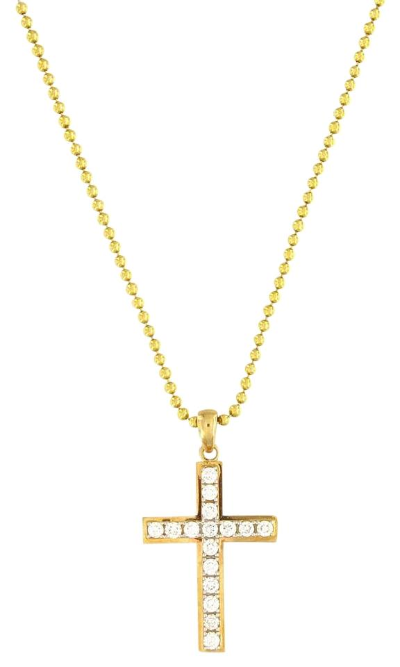 Necklacespendants crown jewelers custom made 14k yellow gold diamond cross pendant aloadofball Images