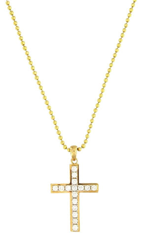 Custom Made 14k Yellow Gold Diamond Cross Pendant