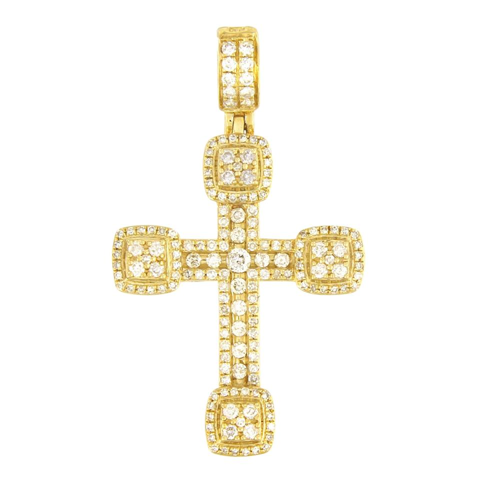 Necklacespendants crown jewelers custom made yellow gold diamond cross pendant aloadofball Images