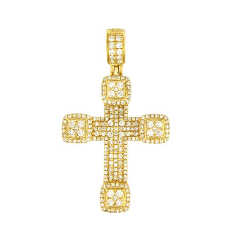 Custom Made Yellow Gold Diamond Cross Pendant