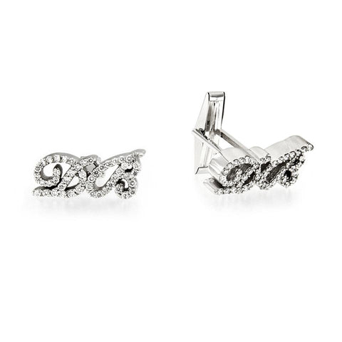 Custom Made White Gold Personalized Initial Cufflinks with Diamonds
