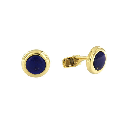 Custom Made Yellow Gold Cufflinks with Lapis Lazuli