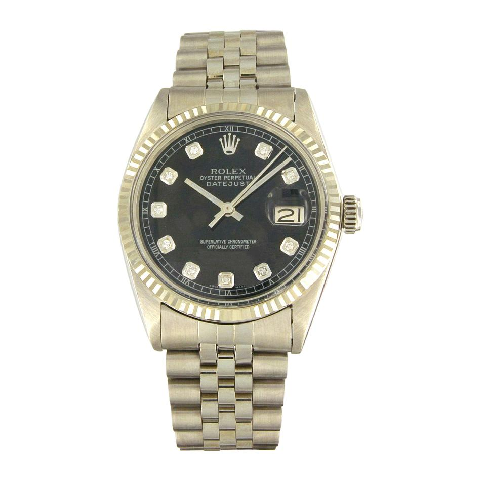 rolex automatic perpetual with black watch oyster steel dial products watchobsession ladies watches