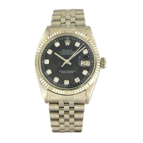 Rolex Oyster Perpetual Datejust White Gold Black Diamond Dial 116234 Watch