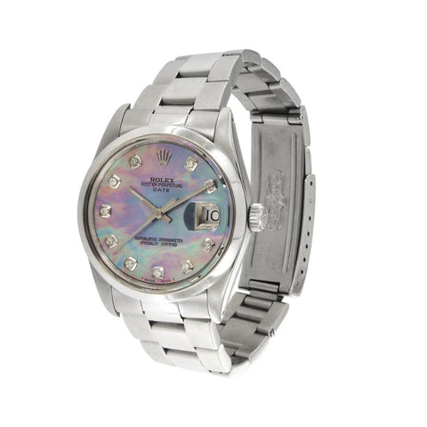Rolex Silver/Blue Oyster Perpetual Date Chronometer Mother Of Pearl Dial