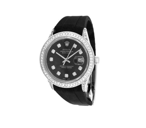 Rolex Oyster Perpetual Datejust Black Dial Diamond Bezel