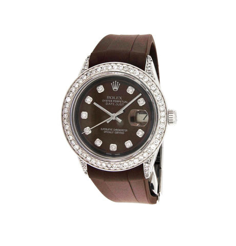 Rolex Oyster Perpetual Datejust Brown Dial Diamond Bezel