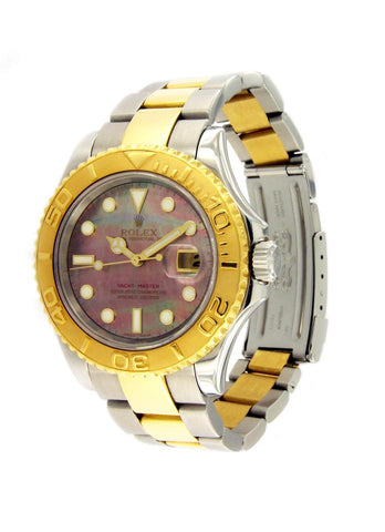 Rolex Silver/Gold Yacht-Master Black Mother Of Pearl Dial Bezel 16623