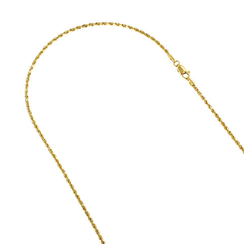 Rope Chain Solid 14K Gold 3mm Wide 16-30in.