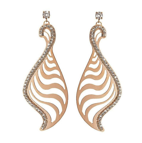 STROILI Italian Jewels Kalahari Rosegold Plated Metal Drop Earrings with Zircons