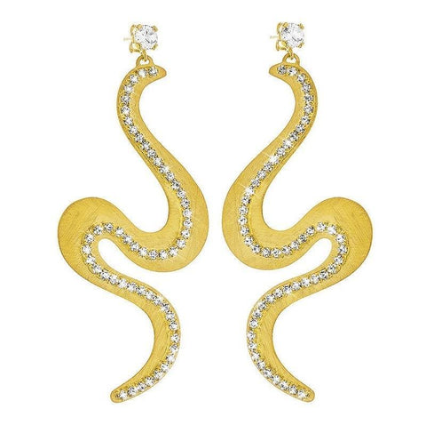STROILI Italian Jewels New Moon Gold Plated Metal Earrings with Crystals 1604540