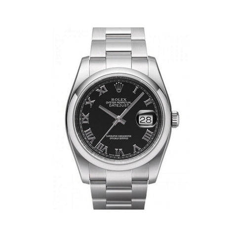 Rolex Silver/Black Oyster Perpetual Datejust Ref. 116200 BKRO