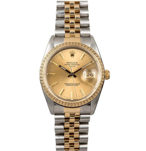 Rolex Two Tone Oyster Perpetual Date 15053 Watch