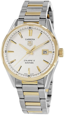 TAG Heuer Two Tone Carrera Calibre 5 Silver Dial War215B.BD0783