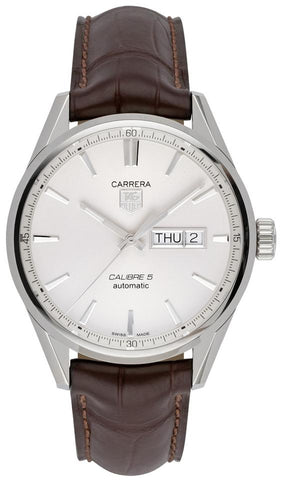 TAG Heuer Silver Carrera Calibre Dial Brown Leather WAR201BFC6291